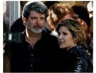 George Lucas and Carrie Fisher at the Star Wars: Episode IV -- A New Hope premiere