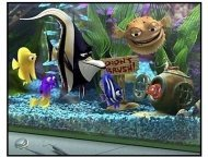 """Finding Nemo"" Movie Still: Bubbles, Gurgle, Gill, Deb, Bloat, and Nemo"