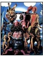 Men in Black II movie still: Aliens (Spider Bunny, Bird Woman, Bird Guy, Tendrill Guy, Flapjack, Corn Guy, The Worm Guys, Robot Squid)