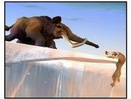 Ice Age movie still: Manfred races to rescue Diego from a perilous situation