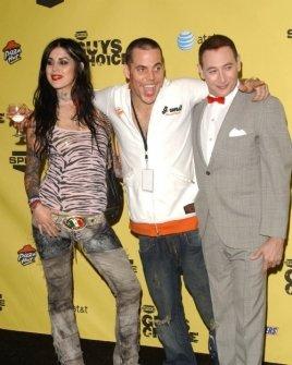 Kat Von D with Steve-O and Paul Reubens
