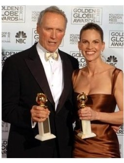 Clint Eastwood and Hilary Swank at the 62nd Annual Golden Globe Awards: Press Room