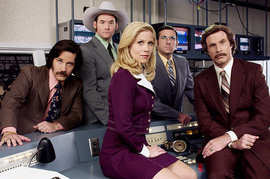 Anchorman: The Legend of Ron Burgundy, Paul Rudd, David Koechner, Christina Applegate, Steve Carell, Will Ferrell