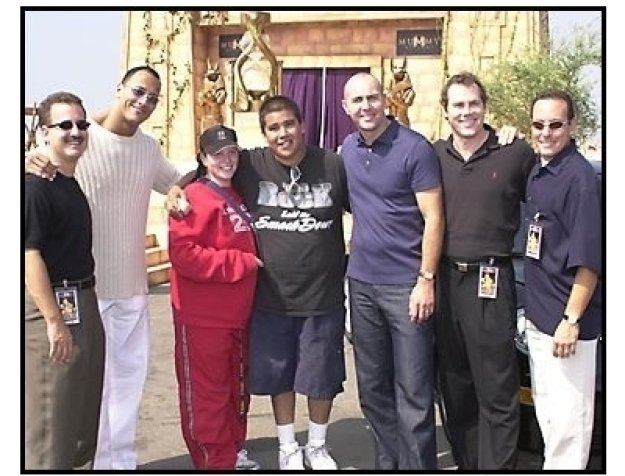 The Mummy Returns DVD release event: Craig Kornblau, The Rock, Winner Mike Sandoval and Friend,Arnold Vosloo, Stephen Sommers and Ken Graffeo